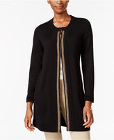 JM Collection Petite Metallic-Trim Flyaway Cardigan, Only at Macy's
