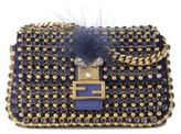 Fendi Micro Embellished Fox-Fur-Trimmed Baguette
