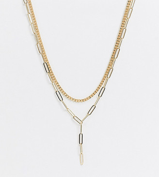 DesignB London Exclusive lariat chain link multirow necklace in gold