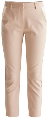 BEIGE Paisie Tailored Trousers With Satin Pockets In