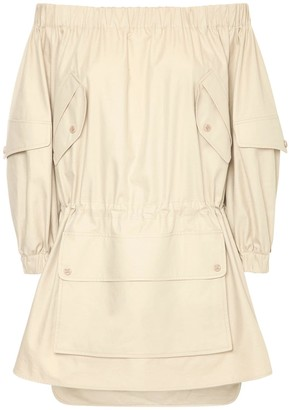 Max Mara Off-the-shoulder Cotton Twill Dress