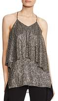Halston Ruffled Metallic Top