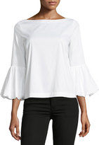 Laundry by Shelli Segal Boat-Neck Puffy-Sleeve Poplin Top