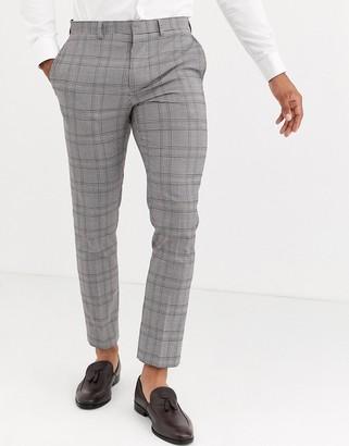 Burton Menswear skinny fit suit trousers in brown retro check