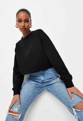 Missguided Black Cropped Sweatshirt
