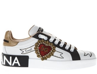 Dolce & Gabbana Portofino White Leather Sneakers With Designers Patch
