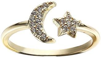 Shashi Moon Star Pave Adjustable Ring (Gold) Ring