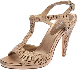 Chanel Beige Laser Cut Floral Leather CC T-Strap Slingback Sandals Size 39.5
