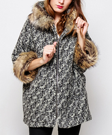 Gray Variegated & Tan Faux Fur Wool-Blend Jacket