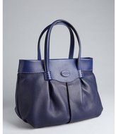 Tod's medium blue pebbled and pleated leather top handle bag