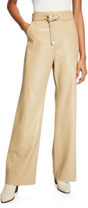 Nanushka Kisa Vegan Leather Wide-Leg Pants with Belt