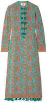 Figue Paolina Tasseled Printed Silk Crepe De Chine Midi Dress - Teal