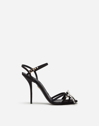 Dolce & Gabbana Gros-Grain Sandals With Rhinestone Detailing