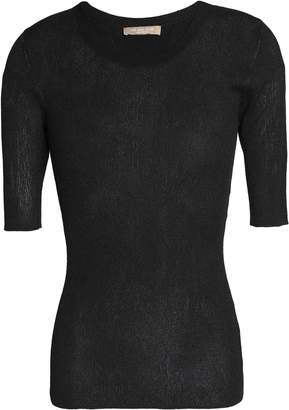 Michael Kors Metallic Ribbed-knit Top