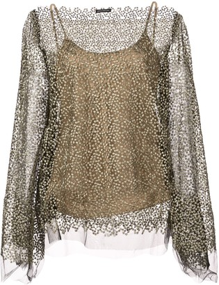 Josie Natori Embroidered Mesh Sheer Top