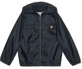 Gucci Boy's Logo Jacquard Hooded Nylon Jacket