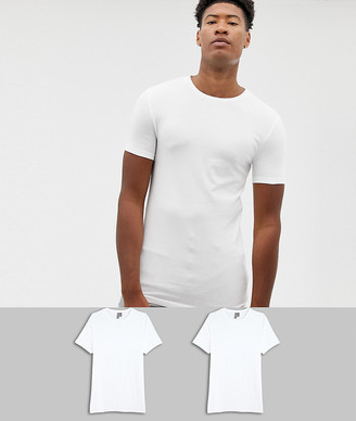 Asos Design DESIGN Tall 2 pack organic muscle fit crew neck t-shirt save-White