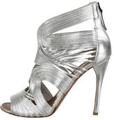 Alaia Leather Metallic Sandals