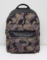 Ps Paul Smith Canvas And Leather Trim Camo Backpack In Khaki