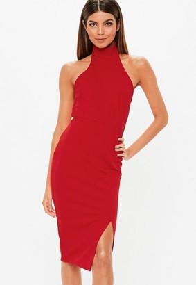 Missguided Red Choker Bodycon Midi Dress