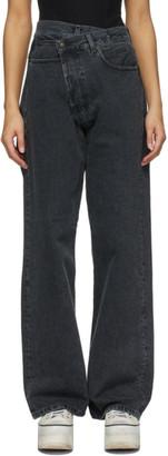 R 13 Black Cross Over Jeans