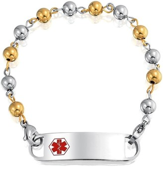 Bling Jewelry Identification Medical Alert ID Bracelet Engravable Bead Ball Chain For Women 2 Tone Gold Plated Stainless Steel