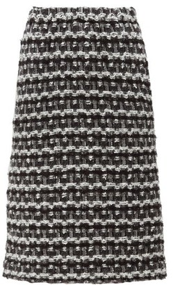 Comme des Garcons Tweed Pencil Skirt - Womens - Black White