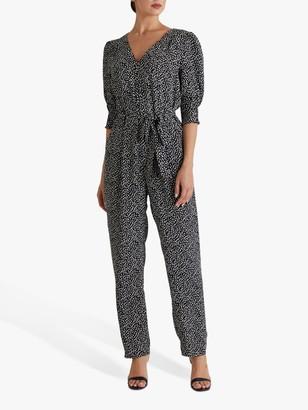 Fenn Wright Manson Suzanne Confetti Print Jumpsuit, Black/Ivory
