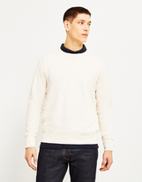 Hawksmill Garment Dyed Slub Crew Sweatshirt Off White