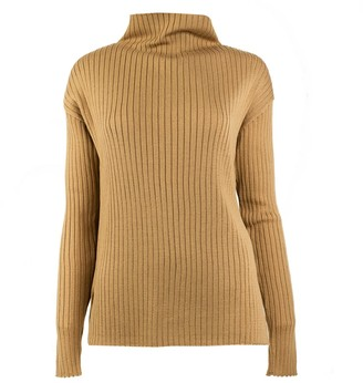 Woolish Maiko High Neck Merino Sweater Beige