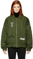 Perks And Mini Green Hard Synth Embroidered MA-1 Bomber Jacket