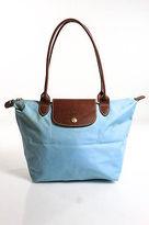 Longchamp Light Blue Nylon Le Pliage Shoulder Tote Handbag