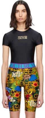 Versace Black Logo Contrast Color Cropped T-Shirt