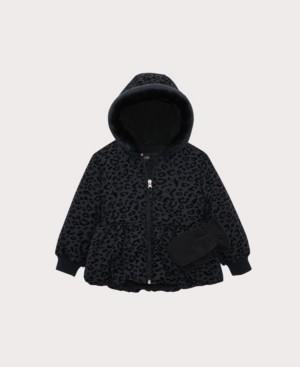 S. Rothschild Little Girls Leopard Flocked Peplum Jacket with Mittens