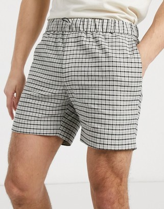 ASOS DESIGN slim smart short in stone check linen cotton with toggle waist