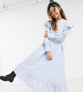 Little sunny bite long sleeve midaxi dress with frills in gingham