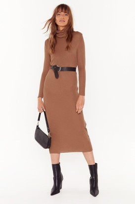Nasty Gal Womens This is How We Roll Ribbed Midi Dress - beige - 12