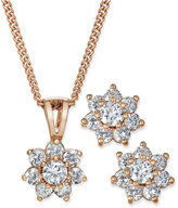 Charter Club Chater Club Rose Gold-Tone Cubic Zirconia Flower Pendant Necklace and Earrings Set, Only at Macy's