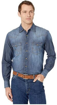 Wrangler Retro Long Sleeve Premium Denim (Blue Denim) Men's Clothing