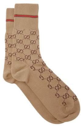 Gucci Gg Supreme Intarsia Cotton Blend Socks - Mens - Beige