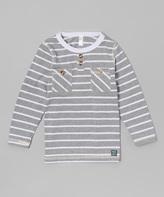 Nano Gray & White Stripe Henley - Infant, Toddler & Boys