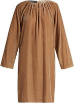 Rochas Pleated-neck velvet dress