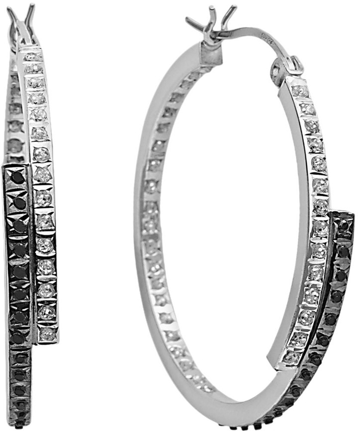 Mystique Diamond Platinum Over Silver Inside-Out Bypass Hoop Earrings