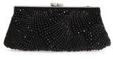 Nordstrom Faceted Fan Beaded Evening Clutch - Black