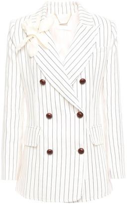Zimmermann Double-breasted Floral-appliqued Linen Blazer