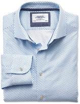 Slim Fit Semi-cutaway Collar Business Casual White And Blue Diamond Print Shirt