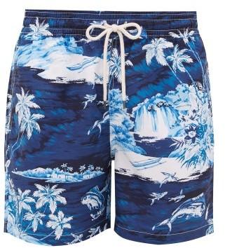 Polo Ralph Lauren Flying Fish Tropical Wave-print Swim Shorts - Mens - Blue Multi