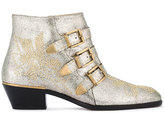 Chloé Grey Glitter Susanna Ankle Boots - women - Leather - 36.5