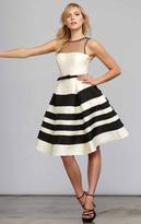 Mac Duggal Black White Red - 7525 Stripes A Line Cocktail Dress