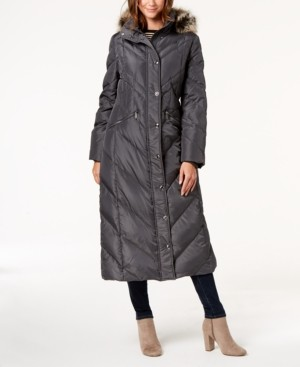 London Fog Faux-Fur-Trim Puffer Coat